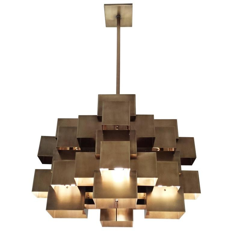 Oversized Cubist Geometric Brass Chandelier