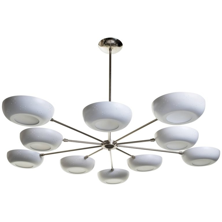 Stilnovo Style White Enameled Sputnik Chandelier