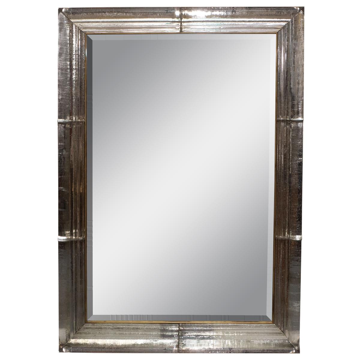 "Beveled ""ice"" glass surround mirror"
