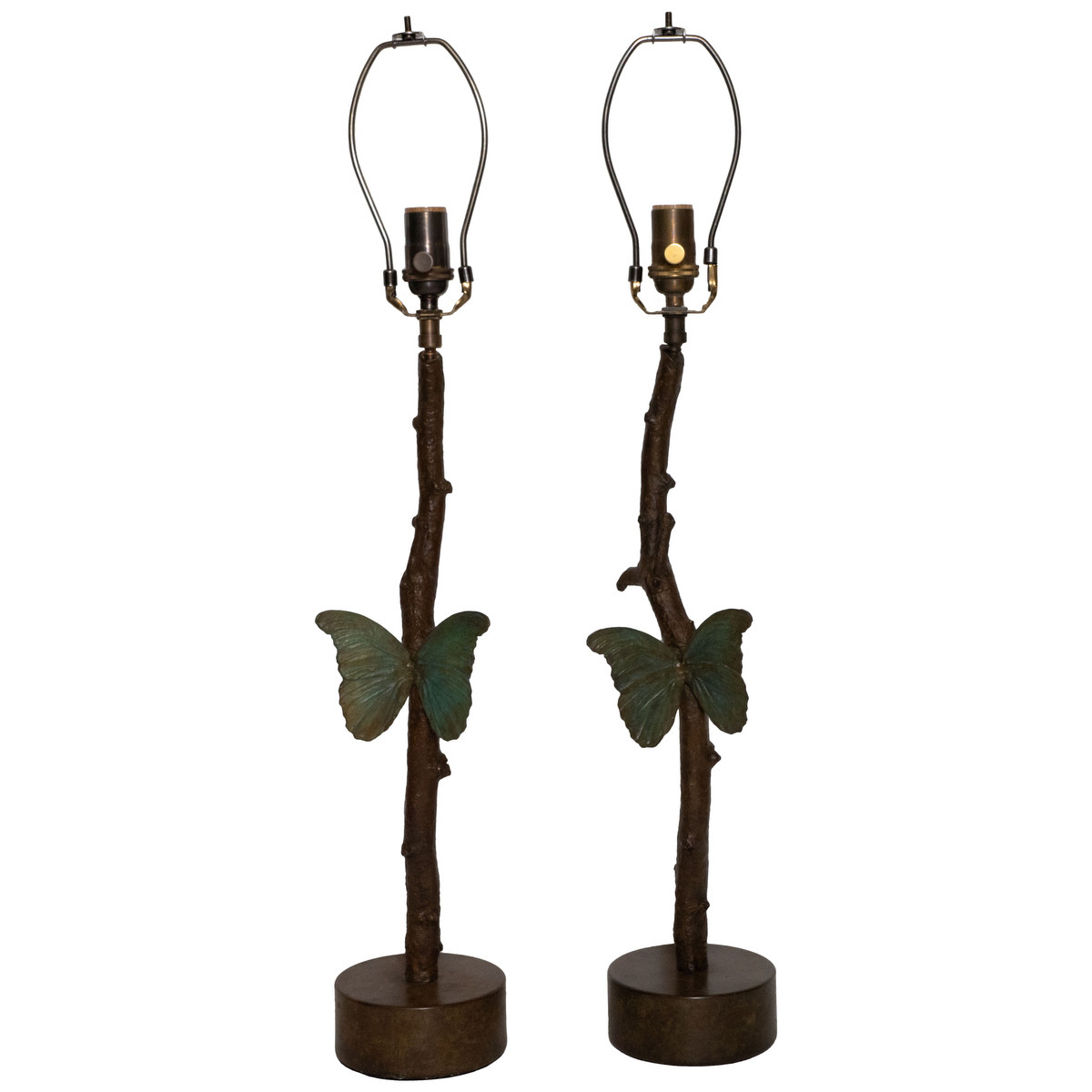 Pair of cast bronze butterfly table lamps