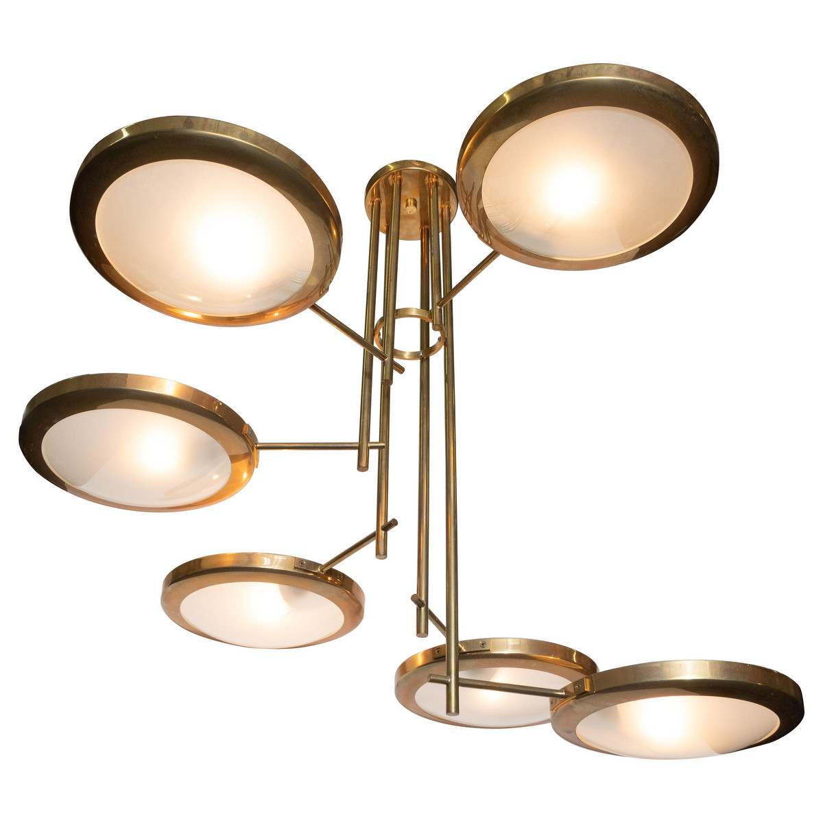 Brass and frosted glass spiral stepped chandelier
