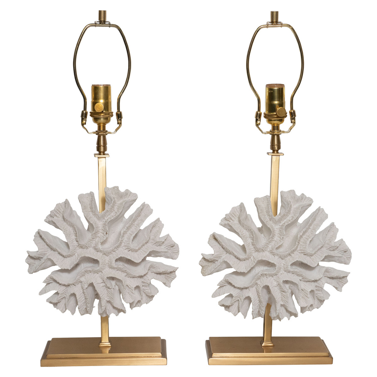 Pair of faux coral table lamps