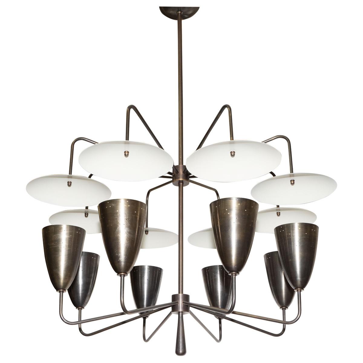 Reflector shade chandelier