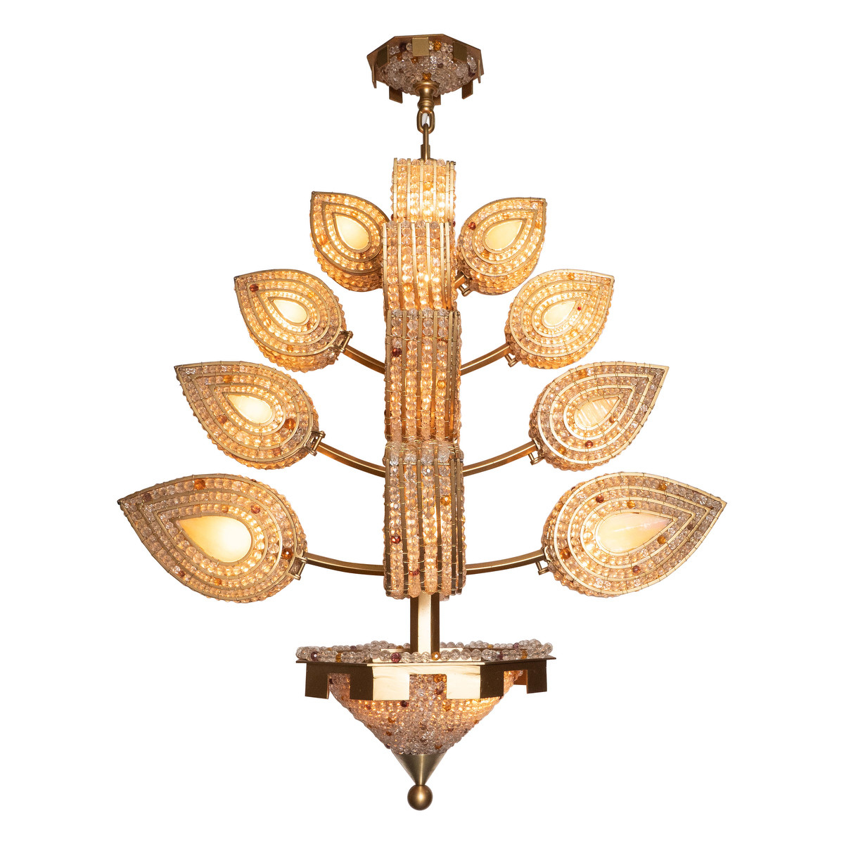 Beaded and stained glass foliate motif chandelier