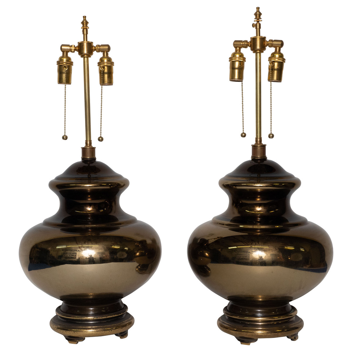 Pair of golden mercury glass table lamps