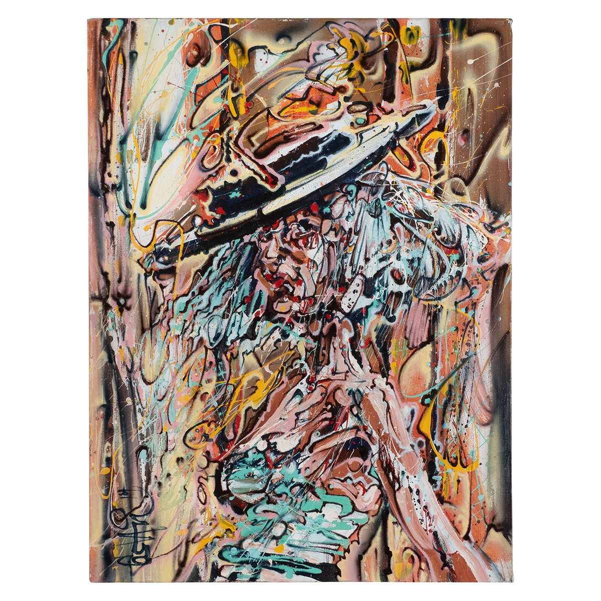 Modern Impressionistic Portrait of a Woman With Hat by Costain.